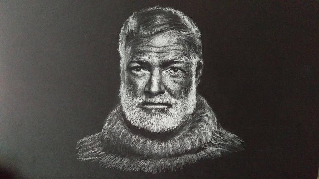 White charcoal drawing of Hemingway on black paper by akarudsan