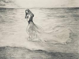 Walk by the calm sea by akarudsan
