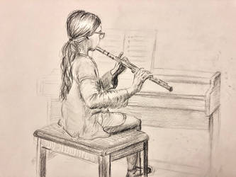Anna playing flute by akarudsan