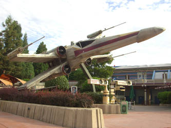 X-Wing at Star Tours entrance by zerosouls