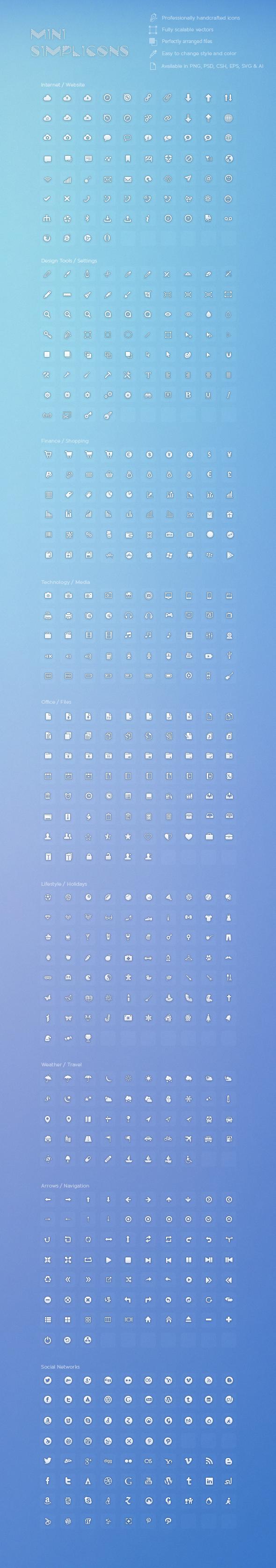 600+Mini Simplicons Icon Set by okidoci