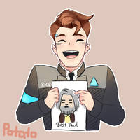 local android boi loves his grumpy dad by potatokyukun
