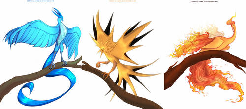Articuno, Zapdos and Moltres by francis-john