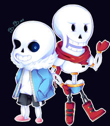 Sans and papyrus by BlancheBrune