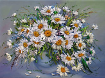 Daisies, silkribbonembroidery by TetianaKorobeinyk