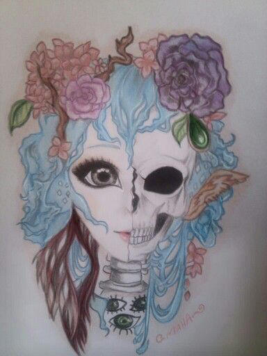 By Mahahalf Girl Half Skull By Silvermaha On Deviantart