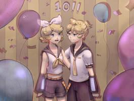 Kagamine 10th Birthday! (+Speedpaint) by Ekkoberry