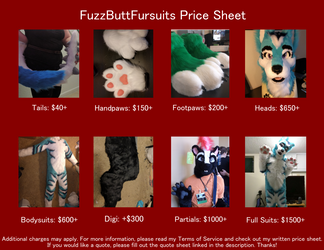 FuzzButtFursuit Price Sheet 2017 by FuzzButtFursuits