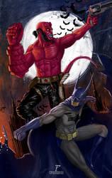 Hellboy/Batman by Prestegui