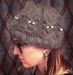 Owl cable hat by Kitten--Mittens