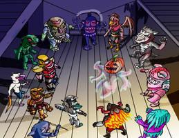 Medieval Robos vs Spook O Lantern Army by Retahensid