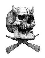 Devil Skull with guns by GrimsoulArt