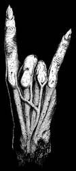 Metal horns hand sign drawing by GrimsoulArt