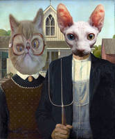 Grant Wood - American Gothic cats by brent4861