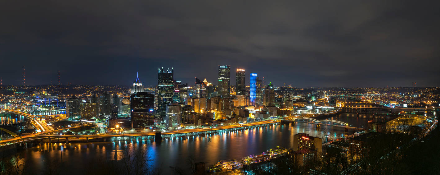 pittsburgh night time panorama by evankupec on deviantart. Black Bedroom Furniture Sets. Home Design Ideas