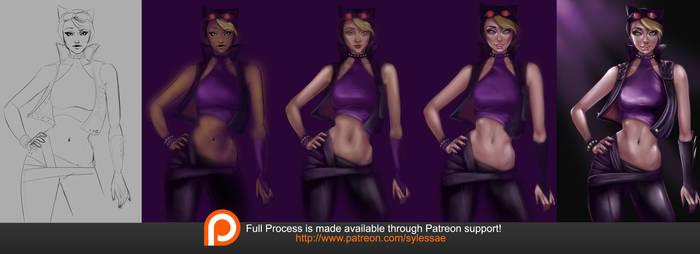 Catwoman Mini Tutorial Process by sylessae