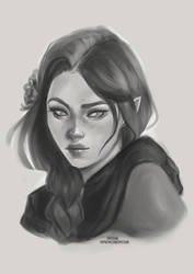 Vivenette OC Sketch  [Ko-Fi Commission] by sylessae