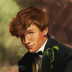 Newt Scamander (and Pickett:) by Ronny--chan