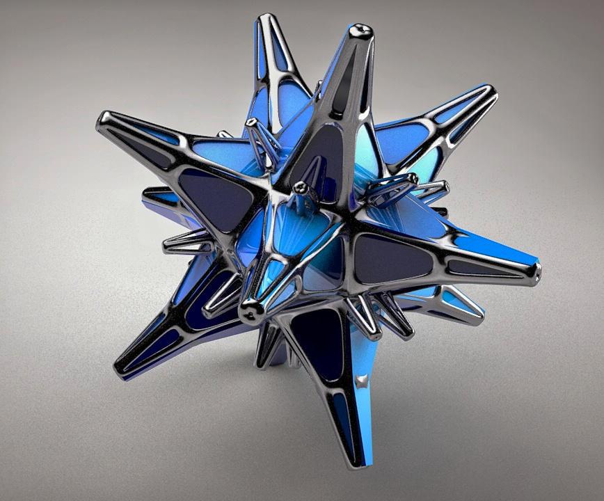 Abstract Metallic Blue Star by hvaddi9