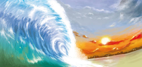 Wave at Sunset by sunteam