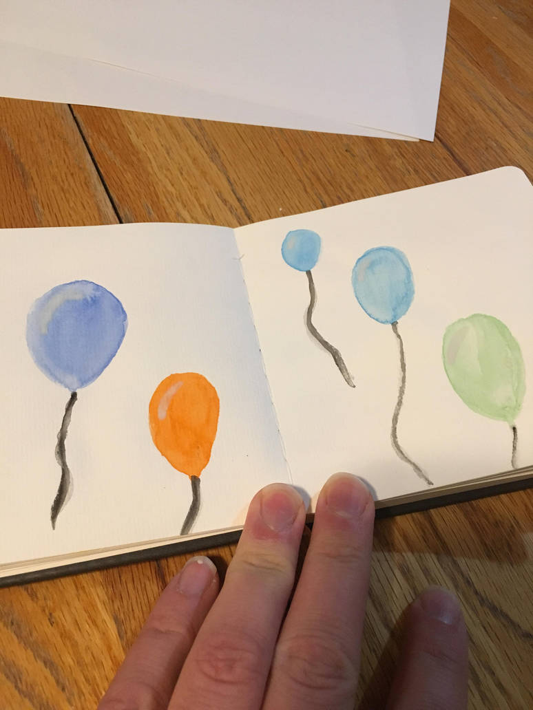 Watercolor balloons doodles  by doc21g