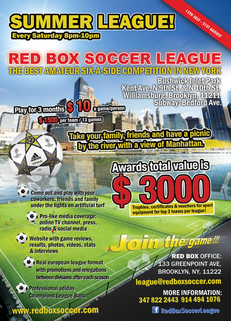 Red Box Soccer League Poster By Borowagfx On Deviantart