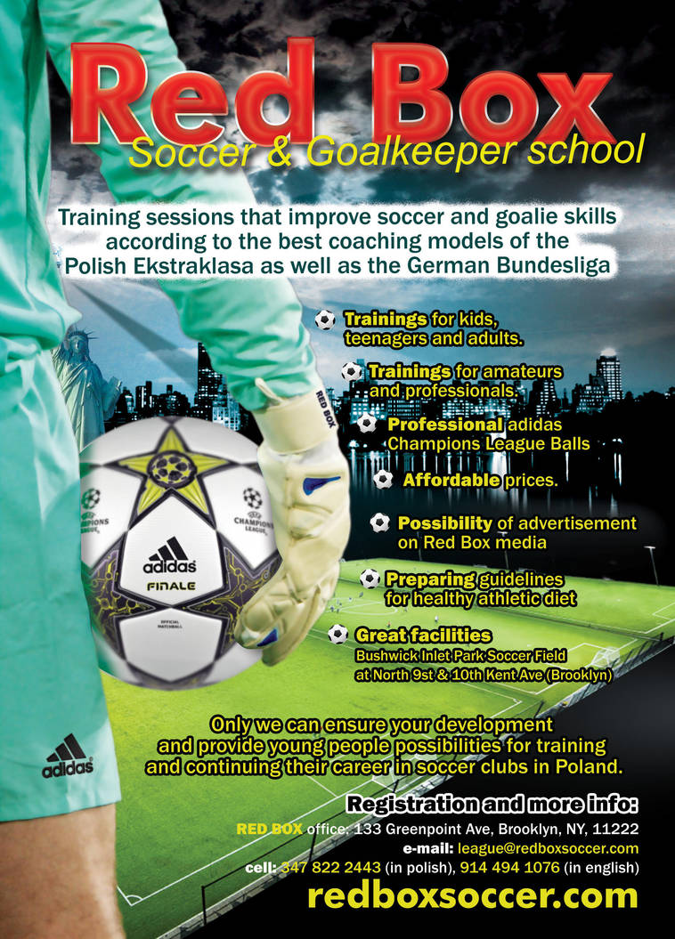 Red Box Soccer And Goalkeeper School Poster By Borowagfx On Deviantart