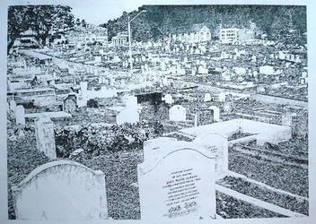 Pen and Ink Cemetary by KingpiN27