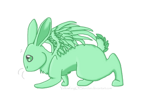Flying Mint Bunny by YellowfangOfStarclan