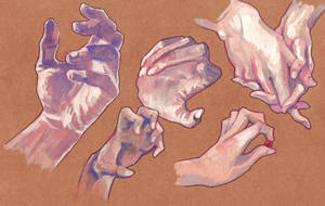 Gouache Hands Study by Hedgesloth
