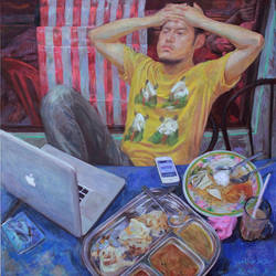 elf Portrait with Yellow Shirt (After Balthus) by ahgun