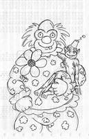 Old RPG art - Clown with Monkey by JKCarrier