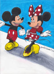 Mickey and Minnie -Commission- by JenJentastique
