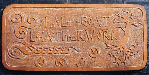 Carved Leather Wall Plaque by Half-Goat