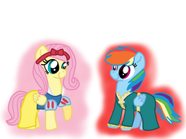 Fluttershy and Rainbow My Little Disney Princess by Dulcechica19