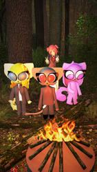 Camping w/ Fursona, Socks, Tammy and Natsuki by blenderenderer