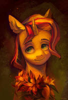 Sunset Shimmer with fire lilies by Fauline