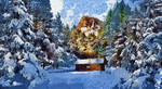 Cabin In The Snow by peterpicture