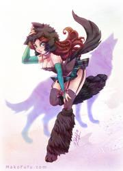 .:Wolf Girl Aya:. Commission by Mako-Fufu