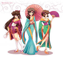 .: Kimono Ranmagirls :. commission by Mako-Fufu
