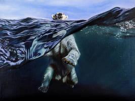 Swimming Polar Bear-Oil On Canvas by PeachtreeDandan