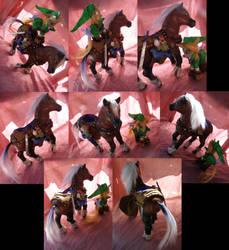 Legend of Zelda Goron Sword Quest Link and Epona by LightningSilver-Mana