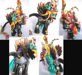 Black Rainbow Baphomet Pony 8 1/2 inches tall by LightningSilver-Mana