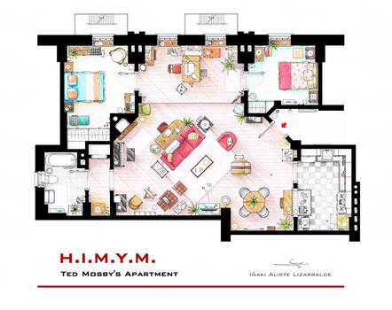 Ted Mosby's apartment from HIMYM by nikneuk