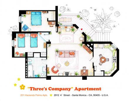 Floorplan of Three's Company Apartment by nikneuk