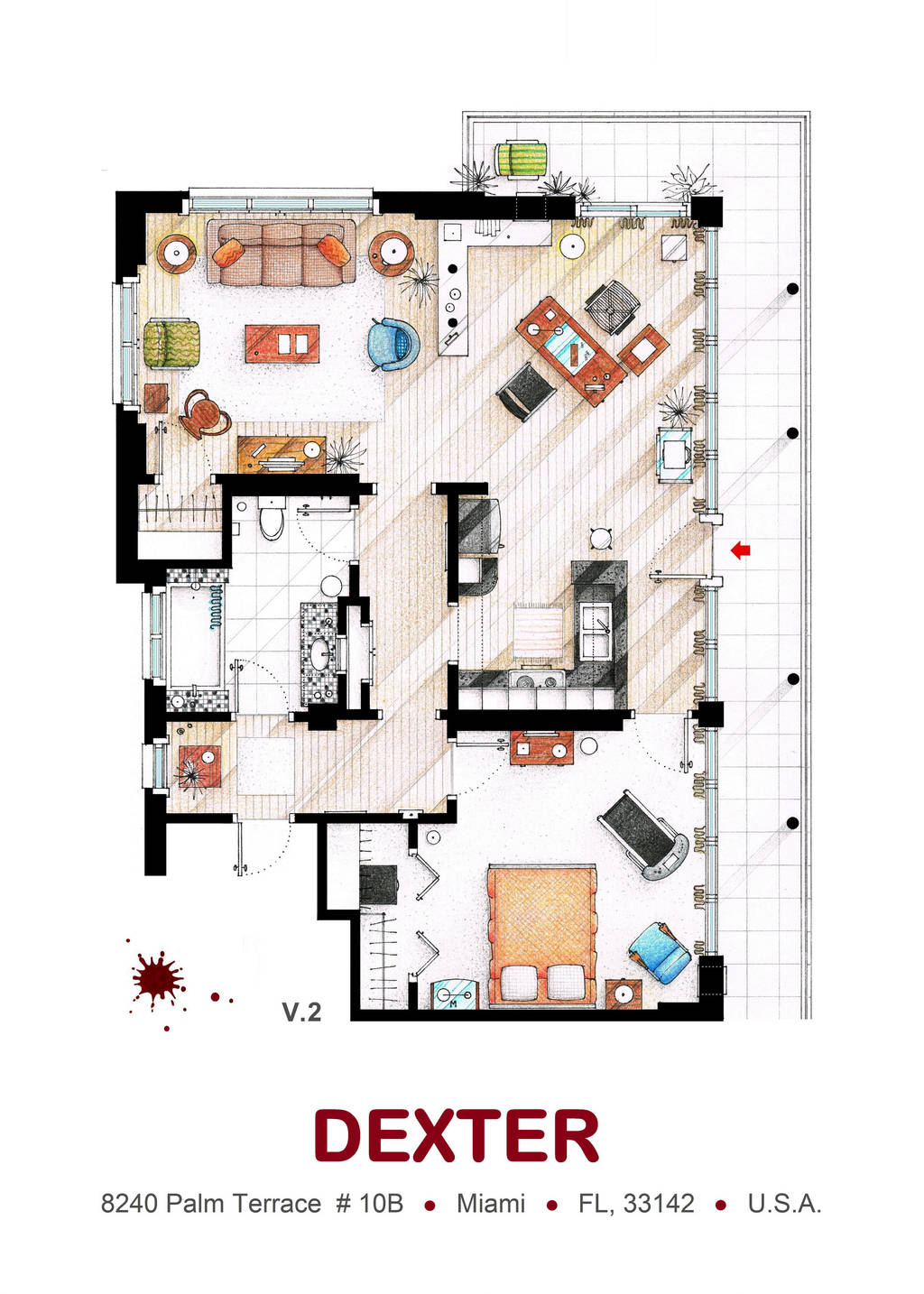 Floorplan of Dexter Morgan's Apartment v.2 by nikneuk