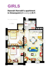 Floorplan of Hannah Horvath's apartment from GIRLS by nikneuk