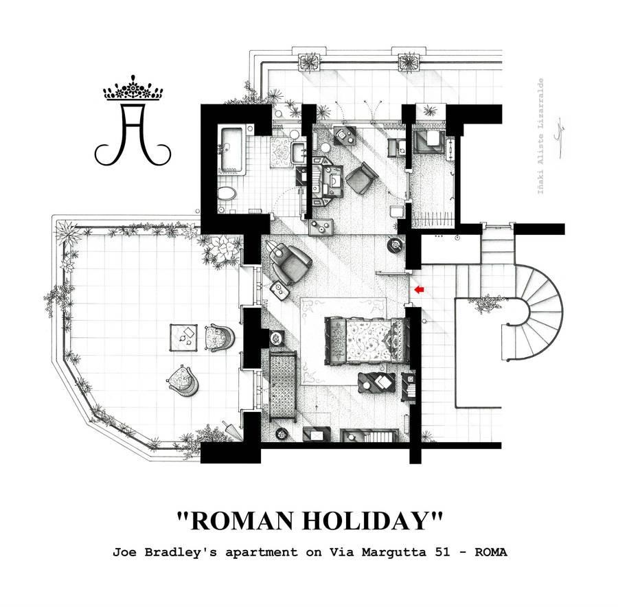 Floorplan of Joe Bradley's apt. from ROMAN HOLIDAY by nikneuk