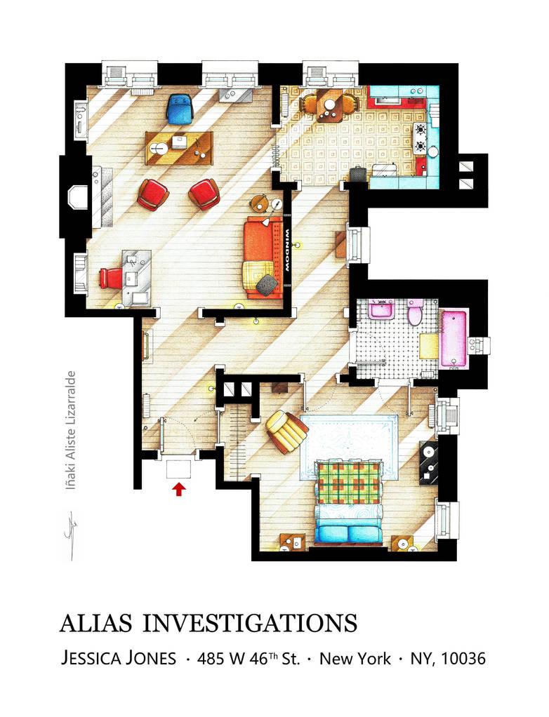 Floorplan of JESSICA JONES office/apartment by nikneuk