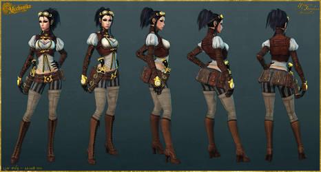 Lady Mechanika: Low Poly by YBourykina